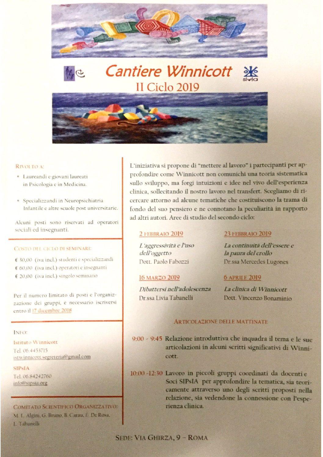 "S.I.P.S.I.A. – Convegni ""Cantiere Winnicott"" – II ciclo 2019"
