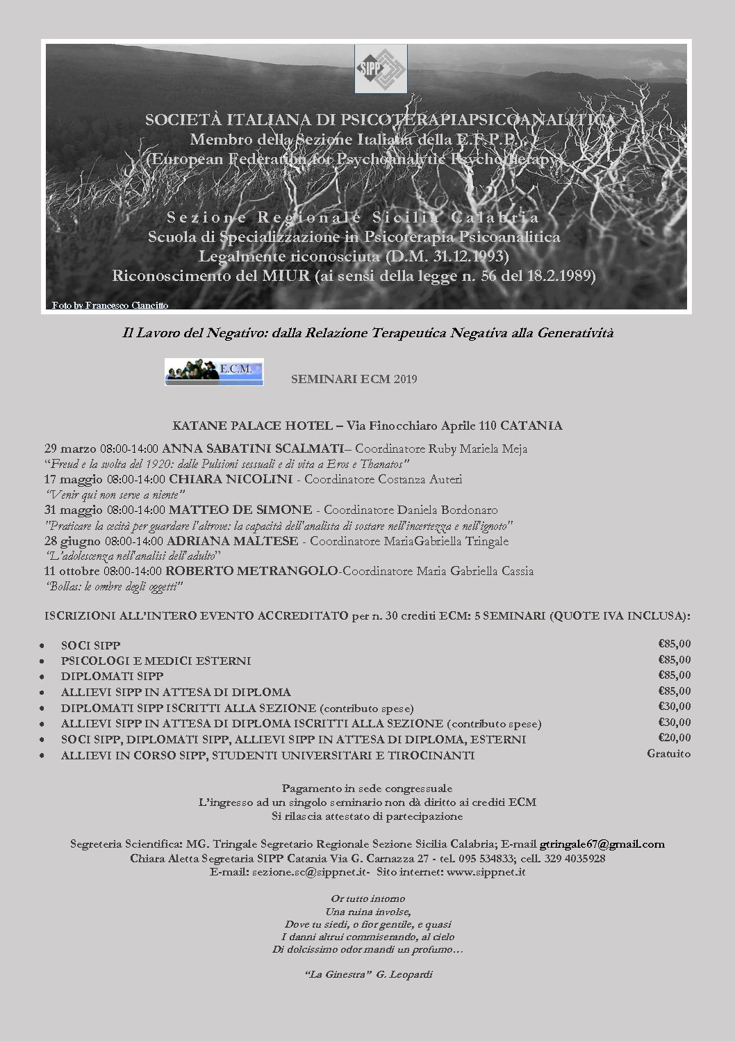 """S.I.P.P. – Calendario Seminari E.C.M. 2019 – """"Il Lavoro del Negativo: dalla Relazione Terapeutica Negativa alla Generatività"""""""