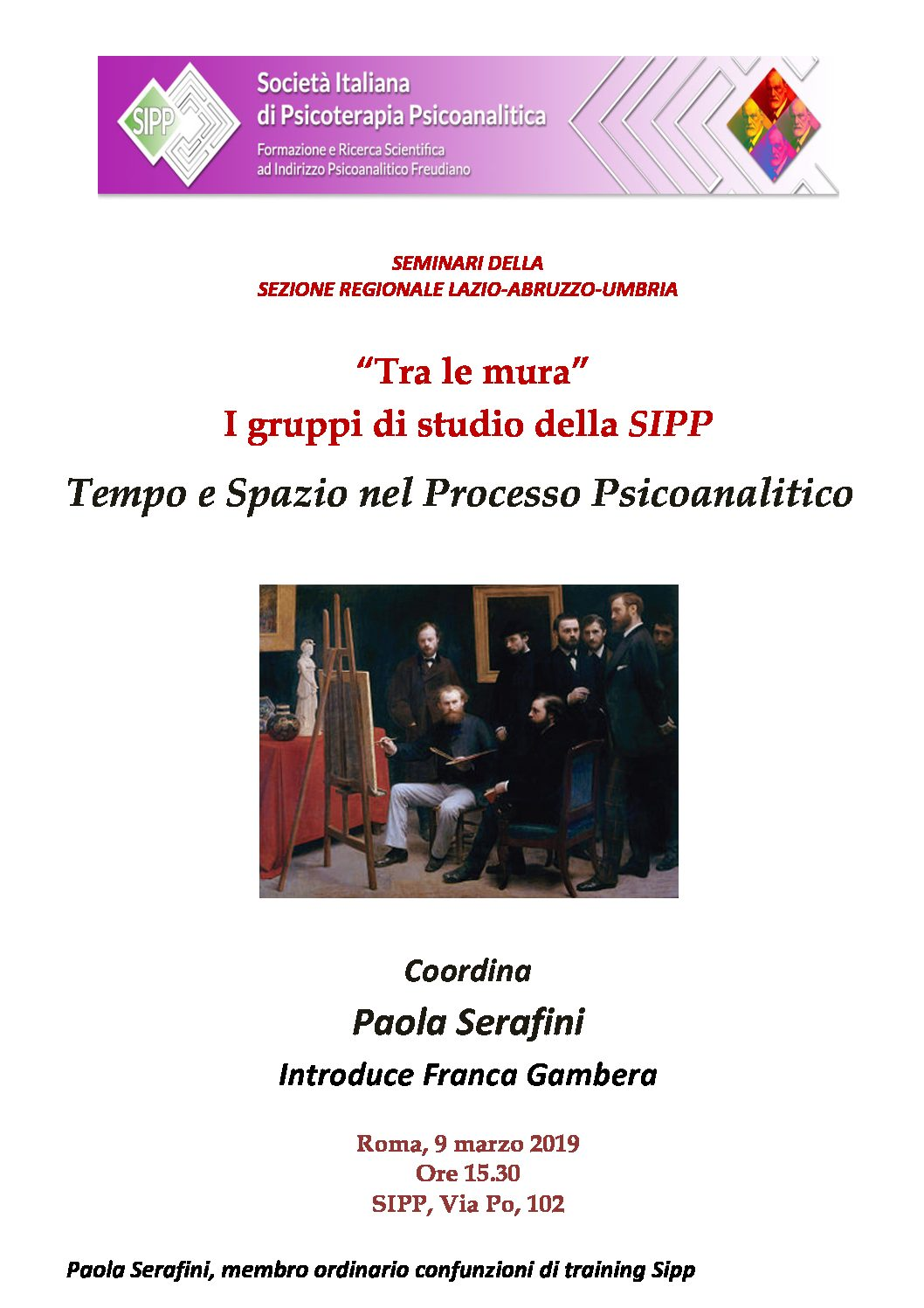 """S.I.P.P. – Seminario """"Tempo e Spazio nel Processo Psicoanalitico"""""""