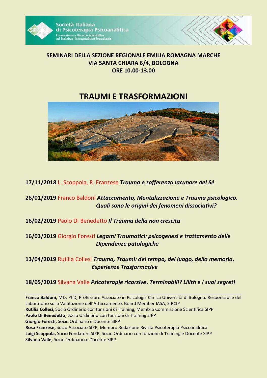 S.I.P.P. – Sezione Regionale Emilia Romagna e Marche – Calendario Seminari anno 2019