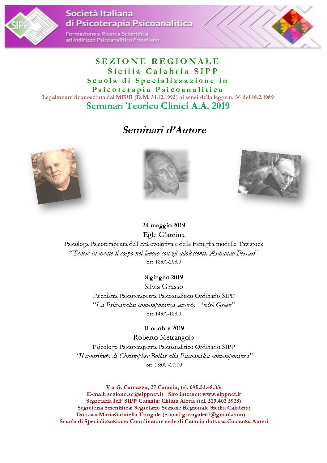 S.I.P.P. – Seminari Teorico Clinici A.A 2019